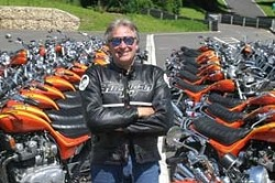 HURRICANE! :  Craig Vetter, former SLO resident, Hall of Fame winner and designer of the Triumph Hurricane, lined up behind him, will return to his old stomping grounds during The SLO Classic Motorcycle Rally. - PHOTO BY TONY PAGE