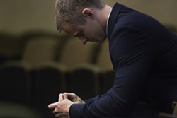 """Cal Poly student and ex-Delta Sigma Phi president Gear McMillan, seen here in court on Oct. 21, 2014, pleaded no contest to a felony """"marijuana possession for purpose of sale"""" charge on Feb. 6. - PHOTO BY KAORI FUNAHASHI"""