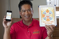 BOOM! :  Tony Bautista founded Where's Bazomb?, which turns getting deals—and money—to customers and bringing business to local shops into a game. - PHOTO BY STEVE E. MILLER