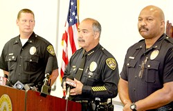 'NO CHOICE':  Santa Maria Police Chief Danny Macagni held a press conference on Jan. 28, telling reporters the on-duty shooting death of officer Albert Covarrubias, Jr., by his friend and fellow officer Matthew Kline had been unavoidable. - PHOTO BY JEREMY THOMAS
