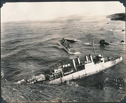 PILE UP:  Seven U.S. Navy destroyers sank Sept. 8, 1923, on a ragged stretch of coast that today makes up part of Vandenberg Air Force Base near Lompoc. - PHOTO COURTESY OF THE HISTORY CENTER OF SLO COUNTY