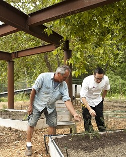 COLLABORATION :  Ralph Johnson (left) helps maintain the small farm at Sycamore Springs so that chefs like Robert Treste (right) can bring fresh produce to their tables. - PHOTOS BY STEVE E. MILLER