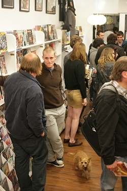 MAKING THE SCENE :  The crowds came and went through Dr. Cain's narrow shop. - PHOTO BY GLEN STARKEY