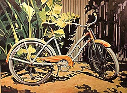 PRETTY AS A PICTURE :  This arresting bike painting by Cythni Meyer was a popular piece at the last bike art show. - PHOTO BY STEVE ACKERS
