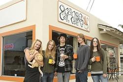 A CLOCKWORK ORANGE :  Orange Cat Café's crew—(left to right) Karen Kennedy, Bronte Diaz, Noah Kennedy, Riley Kennedy, and Taylor Diaz—consistently provide excellent service, operating the business every day of the week from 6 a.m. to 6 p.m. - PHOTO BY STEVE E. MILLER