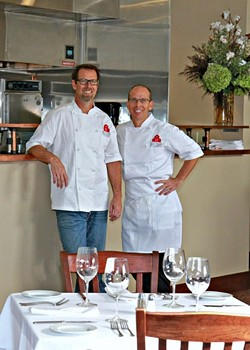 KITCHEN WITH A VIEW:  Chefs Jeff and Matt Nichols run the new Brothers Restaurant at the Red Barn in Santa Ynez, featuring a kitchen overlooking the dining room. - PHOTO BY TENLEY FOHL