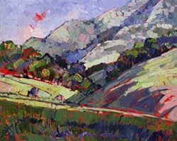 PASO GREENS :  Los Angeles-based plein air painter Erin Hanson found herself inspired by Paso Robles' smooth hills, once spending several days living out of her van and waking at dawn to capture the Paso sunrise. Her technique of painting a canvas entirely red, then painting a scene on top of that, allows for brilliant pops of color in unexpected places, as seen in this piece, titled Paso Greens. - ARTWORK BY ERIN HANSON