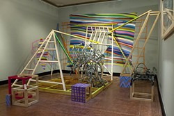 "EXPLODED VIEW:  Adrienne Allebe, Jamie Bruzenak, and Nick Wilkinson explore and interpret the natural world with the group show ""Threshholds"" at SLOMA. Wilkinson's installation 'Oasis' is pictured. - PHOTO BY STEVE E. MILLER"