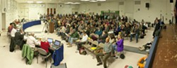 TEACH YOUR CHILDREN WELL:  A proposal to stop enrollment at Teach Elementary drew a cafeteria full of emotional parents to the Feb. 19 San Luis Coastal board meeting. - PHOTO BY STEVE E. MILLER
