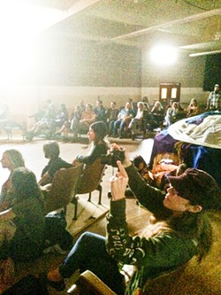 RAPT AUDIENCE:  Poetry lovers were all up in that joint (AKA the SLO Grange Hall). - PHOTO BY GLEN STARKEY