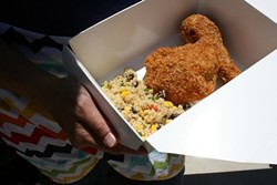 DAY AND NIGHT:  Nom Nom Nom The Good Food Truck serves up refreshingly cold items at wineries during the day, like this Spanish style panko-crusted fried chicken. Come nightfall however, the trailer serves up a mess of hot sandwiches, burgers, tacos, sliders, and more. - PHOTO BY HENRY BRUINGTON