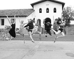 PDA :  The dancers and choreographers who made Portable Dance Assembly a reality congregate for a photo in front of the Mission, where the finale performance took place. - PHOTO BY STEVE E. MILLER