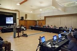 HAVING THEIR SAY :  Susan Jordan, president of the non-profit California Coastal Protection Network, applauds the California Coastal Commission for their November denial of Pacific Gas & Electric's controversial 3-D high-energy seismic studies. - PHOTO BY STEVE. E. MILLER