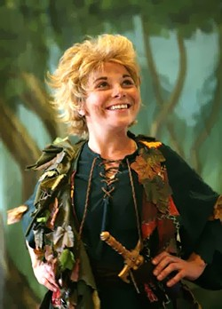 FLY:  Peter Pan, played by Tabatha S. Skanes, is the ultimate icon of boyhood. - PHOTO COURTESY OF KELRIK PRODUCTIONS