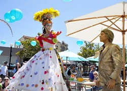 THEY'VE LANDED:  Teetering stilt walkers will return to Paso Robles' Downtown City Park for Paso ARTFEST's main event, held this Saturday, May 23. - PHOTO COURTESY OF STUDIOS ON THE PARK