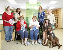 POSITIVE VIBES :  The supportive community for cancer patients at French Hospital includes, from left to right (back row): Debby Nicklas, Bev Kirkhart, Kathy Tangeman; (front row) Janelle La fond, Judi Belanger, Doris Goodill, JB Bates, and Shijo-kinko - PHOTO BY STEVE E. MILLER