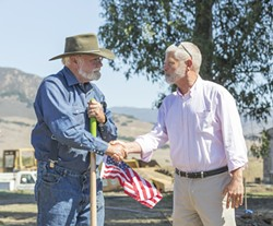 TRUCE:  Dan De Vaul and Supervisor Bruce Gibson (right) on Sept. 19. - PHOTO BY COLIN RIGLEY