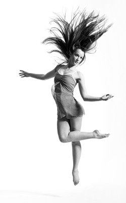 ON THEIR TIPPY-TOES :  Pieces in the new company's mix-and-match dance show are set to girl rock by the Yeah Yeah Yeahs and Florence and the Machine and a jazz number by local favorite Inga Swearingen. Pictured is Daniela O'Donoghue, aged 17. - PHOTO BY MICHAEL HIGGINS