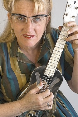 """SWAPMEET PANACHE :  The Red Barn Community Music Series presents blues guitarist/ ukulele player Del Rey on May 10 at the Red Barn, where she'll combine country blues, stride piano, classic jazz, and hillbilly boogie channeled through """"the sensibility of an autodidact traile - PHOTO COURTESY OF DEL REY"""