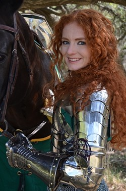 BRAVE :  Lady Victoria is one of the few female full-contact jousters. See her in action at the Central Coast Renaissance Faire. - PHOTO COURTESY OF THE CENTRAL COAST RENAISSANCE FAIRE