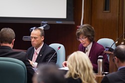 THE PLAN:  Community Development Director Derek Johnson (left) and Deputy Director Kim Murry argued before the SLO City Council that data from Johnson Aviation about safety and noise led city staff to push for an overrule of - the county's Airport Land Use Commission. - PHOTO BY KAORI FUNAHASHI