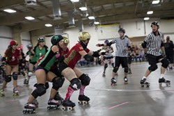 CENTRAL COAST ROLLER DERBY: - PHOTO BY COLIN RIGLEY