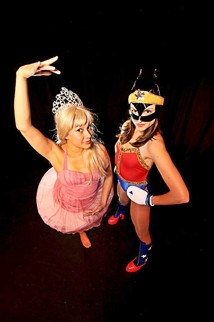 ONCE UPON A TIME :  Tanya Gallardo as Sleeping Beauty and Heather McLeod as Wonder Woman in Elena Naskova's A Toxic Fairytale. - PHOTO BY JONATHAN ROBERTS OF BLUEPHOTO