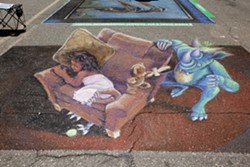 INTO ANOTHER DIMENSION:  Some of the most popular works featured at SLO's street painting festival utilize forced perspective to create images that appear three-dimensional. - PHOTO BY JOSEF KASPEROVICH