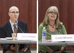 HOT SEAT:  Morro Bay voters will soon go to the polls and choose whether to re-elect Carla Wixom (right), a former city councilwoman now vying for mayor, or give a second term to Jamie Irons (left), who recently withstood a failed recall attempt. - PHOTOS BY COLIN RIGLEY
