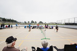 BACK AND FORTH:  National Pickleball champions Daniel Moore and Michael Stahl visited Morro Bay to show off their skills and share a - few new pointers with local players. - PHOTO BY KAORI FUNAHASHI