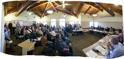 OUTRAGED :  Residents and business owners came out in force to oppose the closure of the Harford Pier in Avila Beach to passenger vehicle traffic. - PHOTO PANORAMA BY STEVE E. MILLER