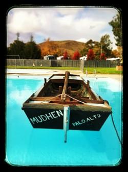 SPLASH DOWN! :  The Mudhen in the SLO Elks Lodge pool. - PHOTOS BY GLEN STARKEY