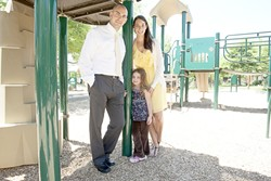 CARING ABOUT KID CARE :  Ashlee Leonardo recently moved from Seattle to the Central Coast, where she found a need for quality nanny services. She's pictured here with her husband Tony and daughter Syndee. - PHOTO BY STEVE E. MILLER