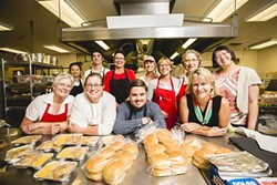 THE CREW:  New Times staff writer Rhys Heyden, center, is surrounded by his culinary superiors and colleagues for the day at San Luis Obispo's Laguna Middle School. - PHOTO BY HENRY BRUINGTON