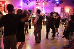 MAKE THE SCENE :  D'Anbino Vineyards & Cellars' downtown Paso Robles tasting room was the perfect venue for salsa dancing. - PHOTO BY GLEN STARKEY
