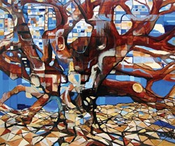 """BRANCHING OUT:  Many of Quintero's works in Relics center around images of trees, interspersed with abstract elements, as can be seen in his painting """"Zeus in Dodona."""" - IMAGE BY JORDAN QUINTERO"""