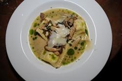 FOOD!:  Ember's housemade green garlic ravioli with wild and king trumpet mushrooms, Rutiz Farms mint, and grana padano are irresistibly delicious. - PHOTO BY DAN HARDESTY
