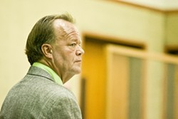 RELEASE AND RETURN:  A mere five days after being released from SLO County Jail, attorney Scott Whitenack was back in action at the SLO Superior Court, arguing on behalf of two new clients he met in jail. - PHOTO BY STEVE E. MILLER