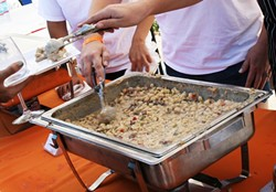 "BETTER THAN A CHEESE STEAK:  Jeffry's Catering took home the Mac and Cheese Fest Second Place People's Choice Award with a unique spin on the flavors found within a satisfying cheese steak sandwich. The ""Paso Mac and Cheese Steak"" dish boasted roasted garlic provolone cheese sauce, grilled peppers, and onions. - PHOTO BY REID CAIN"