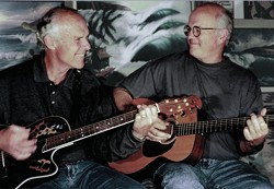 BLASTS FROM THE PAST :  Gil Orr of the Chantays and Paul Johnson of the Belairs and the Surfaris are The Duo-Tones, playing a benefit for the Degroot Nursing Home for Children on Aug. 23 in the SLO Odd Fellows Hall. - PHOTO COURTESY OF THE DUO-TONES