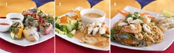 PLEASING TO THE EYE AND MOUTH :  Three dishes from Bunn Thai in Grover Beach are bound to please: (1) Combo Fresh Roll, including the mango, strawberry, and avocado varieties; (2) Heaven on Earth, made with tilapia and real crab, with a mild Panang curry; (3) Andaman Pad Thai with jumbo shrimp, mussels, calamari and real crab. - PHOTOS BY STEVE E. MILLER