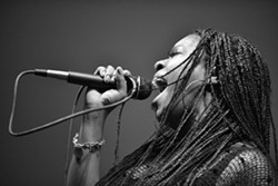 SING IT, SISTER!:  Morgan Monroe of the soul band The Monroe will be one of three acts playing this year's 2014 Zongo Time Traveler's Ball on Dec. 31 at the Los Osos Community Center. - PHOTO BY LANCE KINNEY
