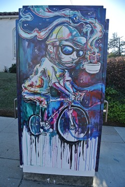 PUBLIC UTILITY:  In 2012, artist Alister Dippner was commissioned to paint the utility box on the corner of Broad and Pismo Street in SLO as part of the city's popular Box Art Project. - PHOTO BY MORGAN CHADWELL