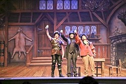 DEVIL IN DISGUISE:  Gaston (Justin Chacon), LeFou (Christian Clarno) and Mounsieur D'Arque (Philip Edwards), toast to their insidious plot. - PHOTOS COURTESY OF KELRIK PRODUCTIONS
