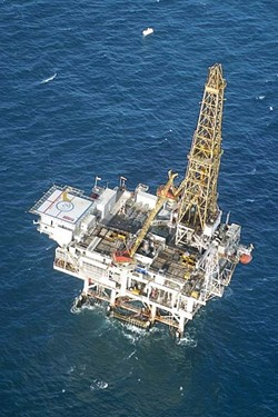 DRILLING FOR OIL :  Platform Irene is the closest oil rig to SLO County, just off the coast of Vandenberg. The Western Petroleum Association is disappointed that President Obama's new offshore drilling plan does not call for any new California platforms. - FILE PHOTO BY CHRISTOPHER GARDNER