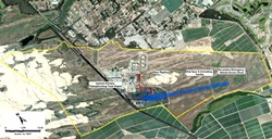 THE PROPOSAL:  This is an aerial map of the rail spur extension project and environs. Outlined in yellow is the boundary of Phillips 66's property, in black is the Union Pacific mainline railroad, in blue is the outline of the proposed rail spur, and in red is where a pipeline would - run from the spur to the refinery. - PHOTO COURTESY OF SLO COUNTY PLANNING DEPARTMENT