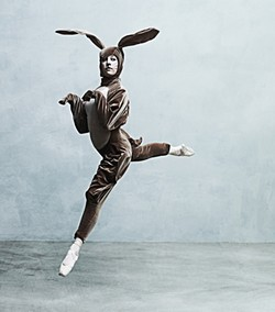 THE BUNNY HOP :  Riva London stars as the velveteen rabbit in Ballet Theatre San Luis Obispo's holiday production. - PHOTO BY BARRY GOYETTE