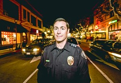 ON THE DRUNKEN TRAIL:  Officer Tim Koznek (pictured) was assigned as a DUI enforcement officer after the SLOPD created the position last November. - PHOTO BY HENRY BRUINGTON