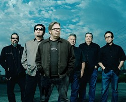 NOW EVEN BETTER! :  Los Lobos plays the Performing Arts Center on April 1 with New Times' music journalist Glen Starkey (third from left) playing lead guitar and singing lead vocals. How will the wolf survive? - PHOTO COURTESY OF LOS LOBOS