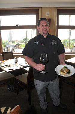 ON THE MENU:  Lido chef Jacob Moss, a local wine aficionado, presents his apple and chorizo stuffed sole with braised kale, celery root latke, and apple - cider beurre blanc. - PHOTO BY DAN HARDESTY